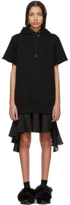 Sacai Black Sweatshirt Dress