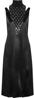 By Malene Birger Leosa Embellished Chiffon-paneled Satin Midi Dress - Black
