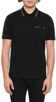 Versace Men's Greek Key-Trim Polo Shirt