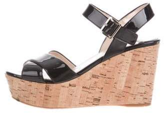 Prada Patent Leather Cork Wedges Black Patent Leather Cork Wedges