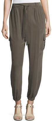 Go Silk Belted Silk Cargo Pants, Petite