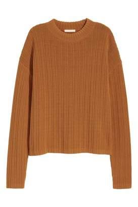 H&M Rib-knit Sweater - Light olive green - Women