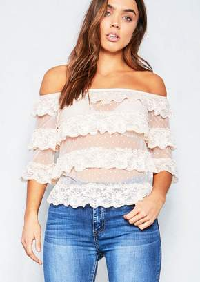 460e7231dc4 Missy Empire Missyempire Athena Nude Layered Frill Lace Top