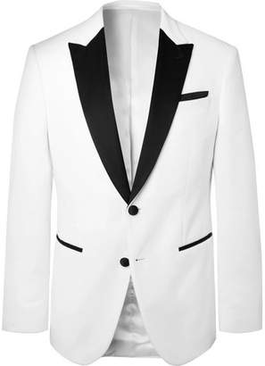 HUGO BOSS White Helward Slim-Fit Satin-Trimmed Cotton-Velvet Tuxedo Jacket - Men - White