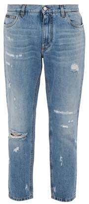 Dolce & Gabbana Distressed Straight Leg Jeans - Mens - Light Blue