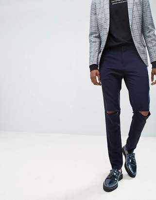 Asos Design Super Skinny Smart Trousers With Knee Splits