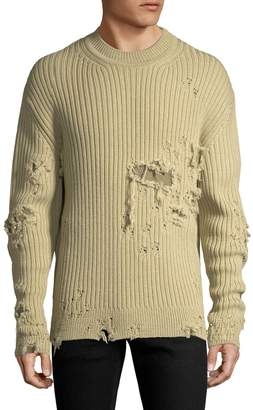 Yeezy Men's Ribbed Distressed Sweater