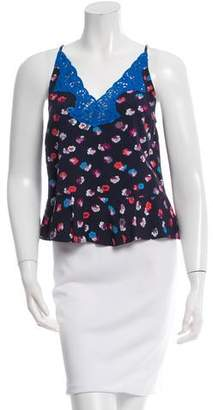 Rebecca Taylor Printed Lace-Trimmed Top w/ Tags