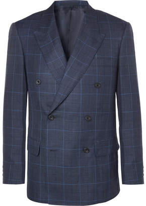 Kingsman Harry's Navy Double-Breasted Checked Wool, Silk And Linen-Blend Suit Jacket