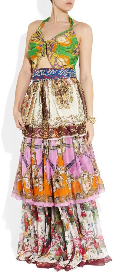 D&G Tiered printed silk maxi dress