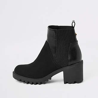 River Island Black faux leather chunky wide fit boots