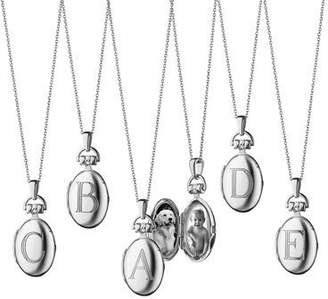 Monica Rich Kosann Petite Sterling Silver Initial Locket Necklace