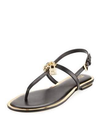 MICHAEL Michael Kors Suki Lock Charm Thong Sandal, Black $125 thestylecure.com