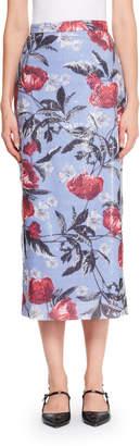 Erdem Malena Sequined Floral Midi Skirt