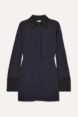 Victoria Beckham Victoria, Bead-embellished Crepe Shirt Dress - Midnight blue