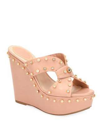 Rene Caovilla Studded Platform Wedge Slide Sandals