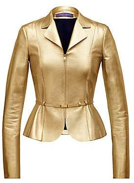Ralph Lauren Women's Lettie Metallic-Leather Peplum Jacket