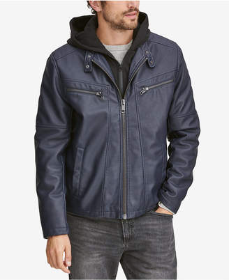 Andrew Marc Men's Corbett Faux-Leather Jacket With Removable Hood