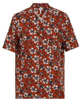 Loewe Floral Print Short Sleeve Shirt - Mens - Brown White