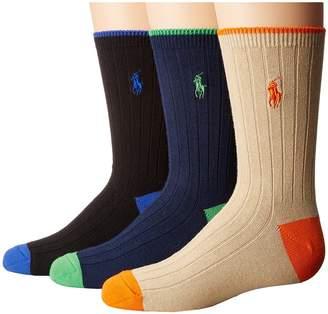 Polo Ralph Lauren Dress Rib Slack with Heel/Toe 3-Pack Men's Crew Cut Socks Shoes