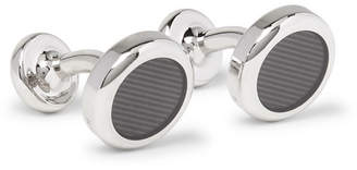 HUGO BOSS Enamelled Silver-Tone Cufflinks - Gray