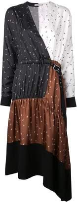Tibi Ant asymmetric mixed print dress