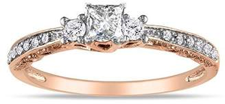 Trilogy JeenJewels Glorious Diamond Ring Half Carat Princess Cut Diamond on Rose Gold