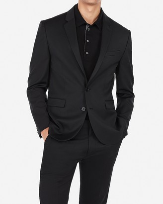 Express Extra Slim Black Wool-Blend Machine Wash Suit Jacket