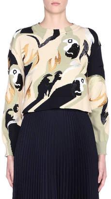 Fendi Bird Print Long-Sleeve Crewneck Sweater