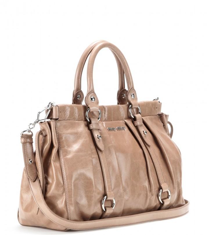 Miu Miu Coated leather tote