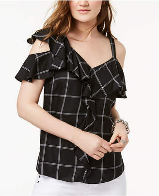 INC International Concepts I.N.C. Cold-Shoulder Plaid Top, Created for Macy's