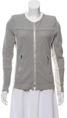 IRO Leather Trim Zip-Up Jacket