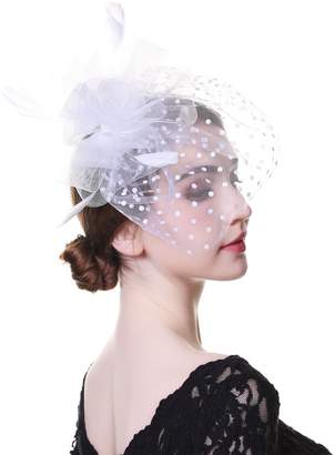 styling  AWAYTR Women Fascinator Hat Feather Mesh Net Veil Cocktail Tea  Party Church Hat with 1e12bf703ca