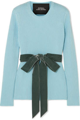 Marc Jacobs Velvet-trimmed Ribbed Wool Sweater