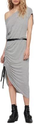 AllSaints Brea Stripe Asymmetrical Dress