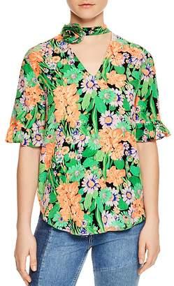 Sandro Reda Floral-Print Silk Choker Top