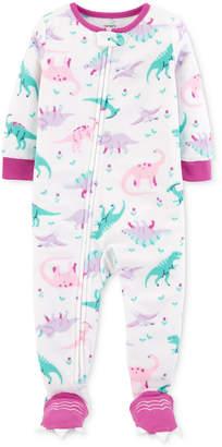Carter's Baby Girls Dinosaur-Print Footed Pajamas