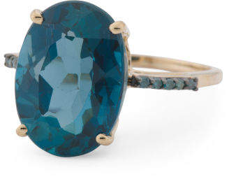 Made In India 14k Gold Blue Diamond London Blue Topaz Ring