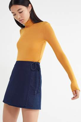 Urban Renewal Vintage Remnants Denim Wrap Mini Skirt