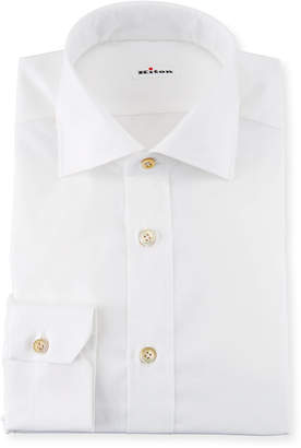Kiton Broadcloth Dress Shirt, White