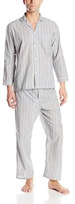 Geoffrey Beene Men's Long Sleeve Broadcloth Pajama Set