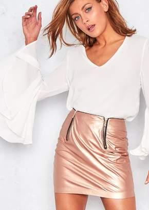Missy Empire Missyempire Meghan Metallic Rose Faux Leather Mini Skirt
