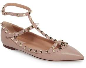 Valentino Rockstud Ankle Strap Pointy Toe Flat