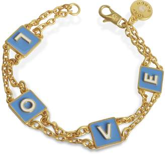 Tory Burch Sunny Blue/New Ivory Enamel and Vintage Gold Brass Message Chain Bracelet
