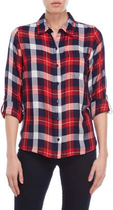 Tommy Hilfiger Rolled Sleeve Plaid Shirt