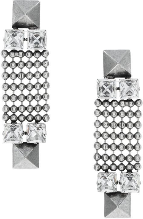 Fallon Silver Crystal Stud Earrings (+)