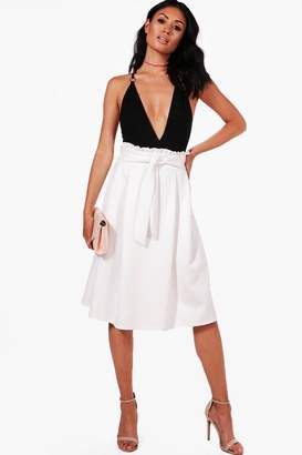 boohoo Ruffle Waist Box Pleat Skater Skirt