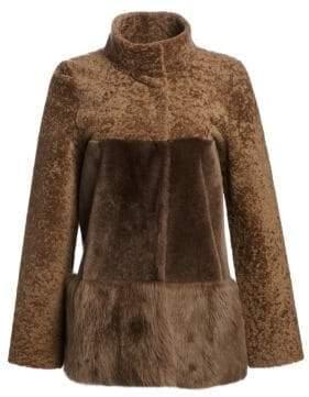 Michael Kors Women's Three-Tone Shearling Peplum Jacket - Camel - Size XL