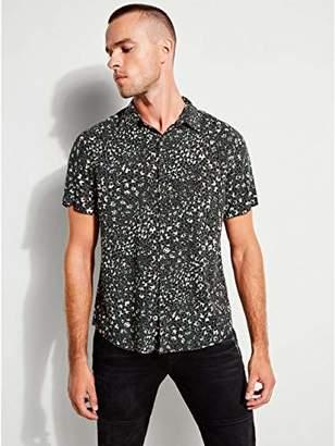 GUESS Men's Short Sleeve Rock Leopard Print Shirt Green