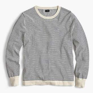 J.Crew Cotton crewneck sweater in grey stripe